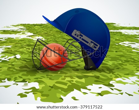 Creative helmet with glossy ball on green grass for Cricket Sports concept. - stock vector