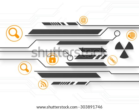Creative hi-tech background with different web icons on shiny background. - stock vector