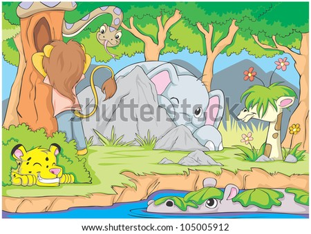 Creative Hide and Seek Game By Animals - stock vector