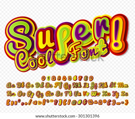 Creative high detail colorful comic font. Alphabet in style of comics, pop art. Multilayer funny 3d letters and figures for kids' illustrations, comics, banners. Characters are painted differently - stock vector
