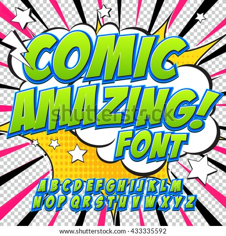 Creative high detail comic font. Alphabet in the green style of comics, pop art. Letters and figures for decoration of kids' illustrations, websites, posters.