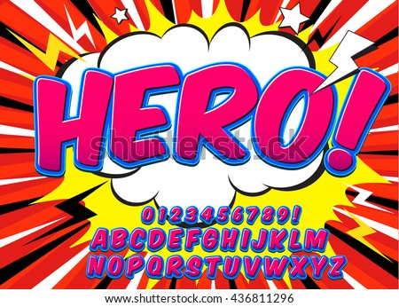 Creative high detail comic font. Alphabet in the pink style of comics, pop art. Letters and figures for decoration of kids' illustrations, websites, posters, comics and banners.