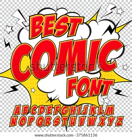 Creative high detail comic font. Alphabet in the red style of comics, pop art. Letters and figures for decoration of kids' illustrations, websites, posters, comics and banners. - stock vector