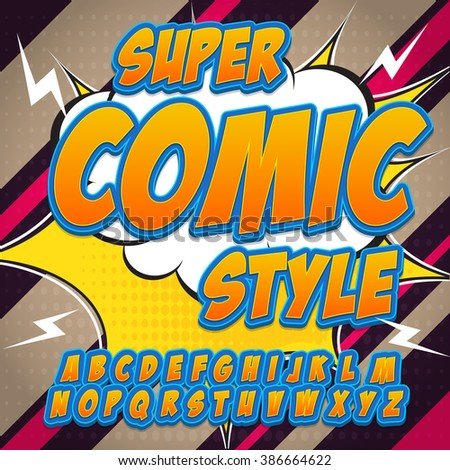 Creative high detail comic font. Alphabet in the style of comics, pop art. Letters and figures for decoration of kids' illustrations, posters, comics and banners. - stock vector
