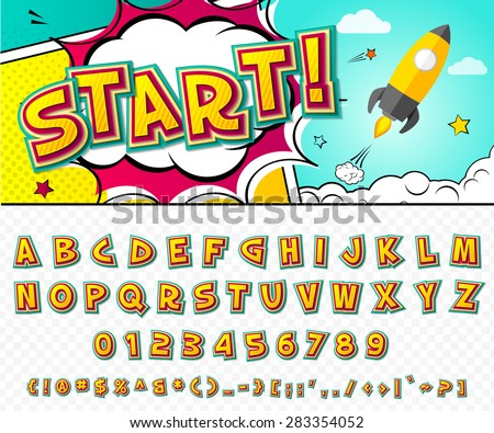 Creative high detail comic font. Alphabet in the style of comics, pop art. Multilayer funny colorful 3d letters and figures for decoration of kids' illustrations, websites, posters, comics and banners - stock vector