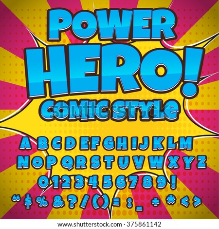 Creative high detail comic font. Blue color hero style of comics, pop art. Letters and figures for decoration of kids' illustrations, websites, posters, comics and banners. - stock vector