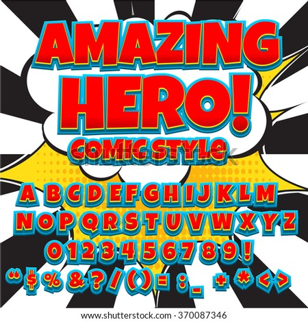 Creative high detail comic hero font. Alphabet in the style of comics, pop art. Letters and figures for decoration of kids' illustrations, websites, posters, comics and banners. - stock vector