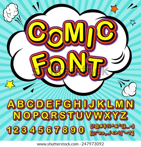 Creative high detail font for your design. The alphabet in the style of comics. Graphics pop - art on the background of radial lines. 3d letters. - stock vector