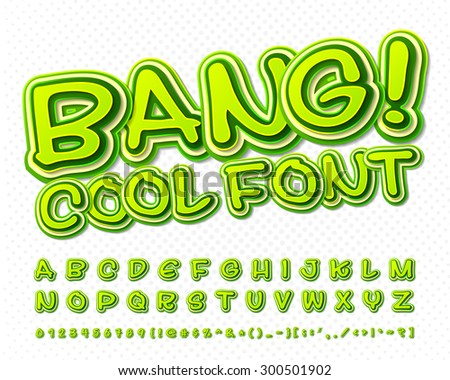 Creative high detail green comic font. Alphabet in style of comics, pop art. Multilayer funny colorful 3d letters and figures for kids' illustrations, websites, comics, banners.  - stock vector