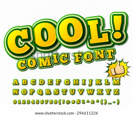 Creative high detail yellow & green comic font. Alphabet in style of comics, pop art. Multilayer funny colorful 3d letters and figures for decoration of kids' illustrations, websites, comics, banners - stock vector