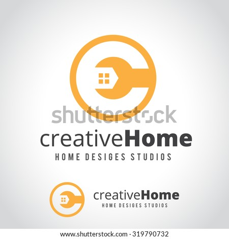 Creative home,home repair services,house fix,house logo,vector logo template - stock vector