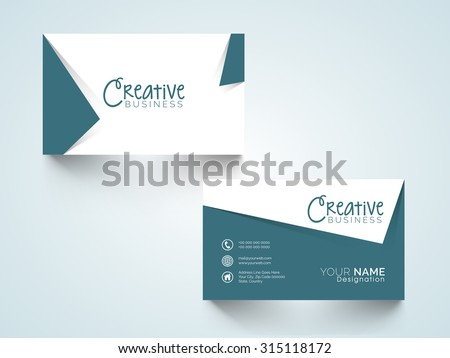 Creative horizontal business card, name card or visiting card set with space for your informations. - stock vector