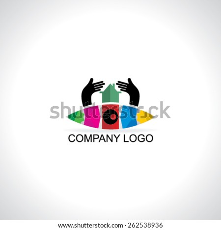 creative house care concept with colorful eye  - stock vector
