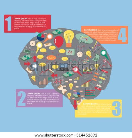 Creative human brain with business finance chart and graph idea concept, Vector Illustration EPS 10. - stock vector