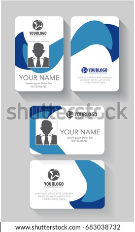 Creative Id Card Template Abstract Blue Stock Vector