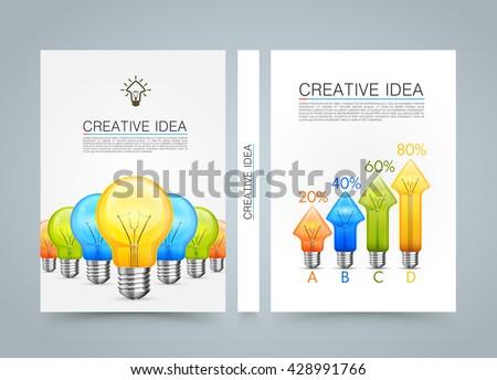 Creative idea banner info, Idea lamp arrow up, A4 size paper,  Template design element, Vector infographic illustration - stock vector