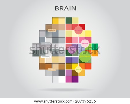 Creative Idea concept background design, Left and right brain thinking. - stock vector