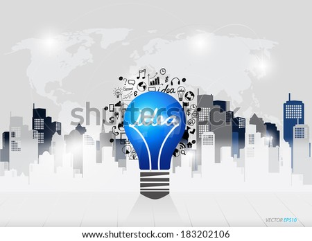Creative idea in Light bulb as inspiration concept with drawing chart and graphs business strategy plan concept idea (building background), vector illustration - stock vector