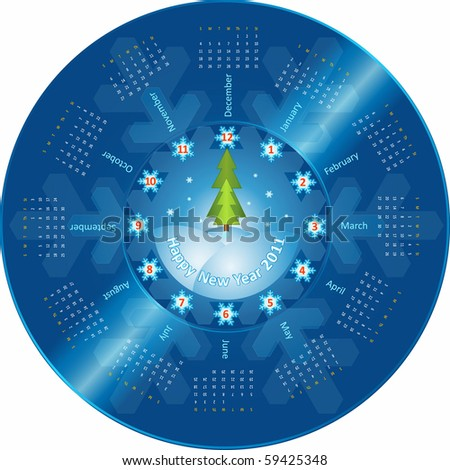 Creative idea of design of a Clock with  circular calendar for 2011. Hands in the form of firtrees show 12 o'clock. Each number-snowflake corresponds to month of a calendar - stock vector