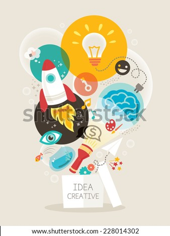 Creative idea think out of the box vector Illustration - stock vector