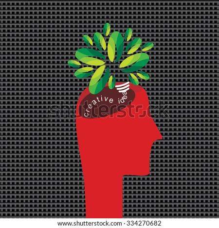 creative idea with human head vector  - stock vector