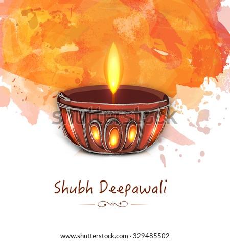 Creative illuminated lit lamp on colour splash background for Indian Festival of Lights, Shubh Deepawali (Happy Deepawali) celebration. - stock vector