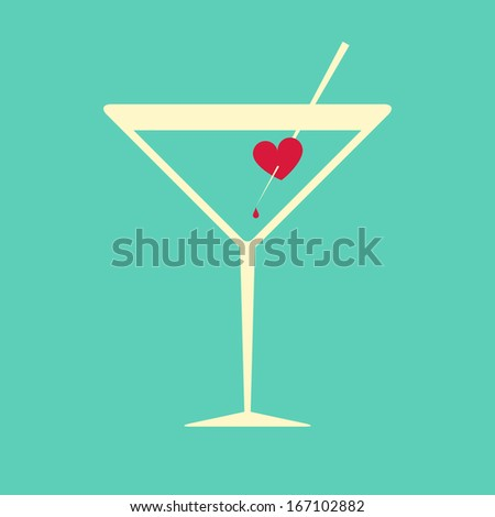 Creative illustration of a cocktail glass garnished with a bleeding heart, symbol of passion, love or hurt feelings, on aquamarine blue background - stock vector