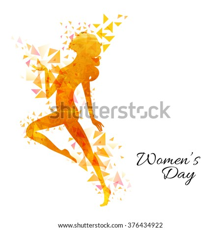 Creative illustration of a young girl with abstract design for Happy Women's Day celebration. - stock vector