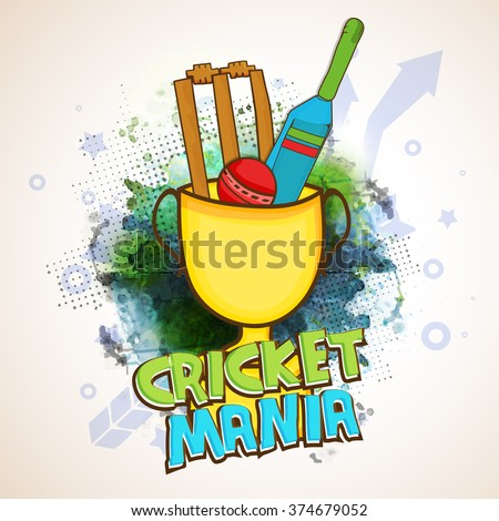 Creative illustration of Bat, Ball and Wicket Stumps in big Winning Cup on abstract background for Cricket Mania. - stock vector