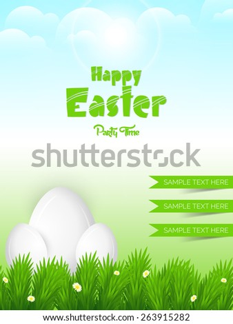 Creative illustration of Happy Ester with nice eggs lays on grassy land in a cloudy sky in background.  - stock vector