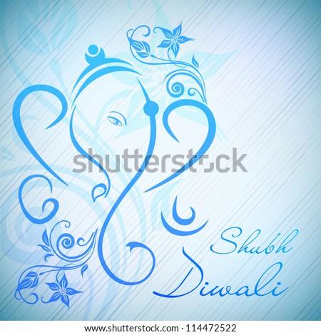 Creative illustration of Hindu Lord Ganesha on floral background. EPS 10. - stock vector