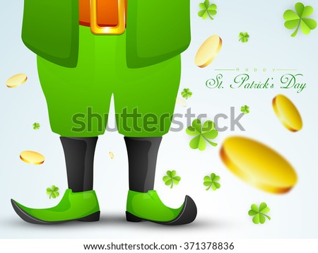 Creative illustration of Leprechaun on shamrock leaves and falling gold coins decorated background for Happy St. Patrick's Day celebration. - stock vector