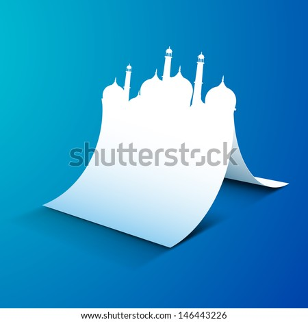 Creative illustration of mosque made by paper on blue background. - stock vector