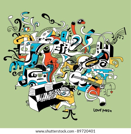 creative illustration of musician playing on piano - abstract music concept - stock vector
