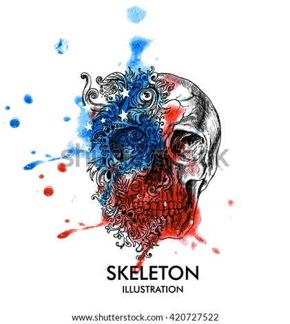 Creative illustration of skull and vintage floral patterns with American Flag colors, Design Vector Illustration greeting card for 4th of July, Independence Day celebration. - stock vector