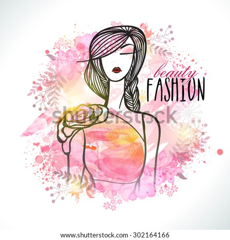Creative illustration of young model girl with pink splash for Beauty Fashion. - stock vector