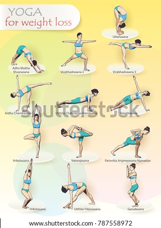 Creative Illustration Poster Yoga Exercises Complex Stock Vector