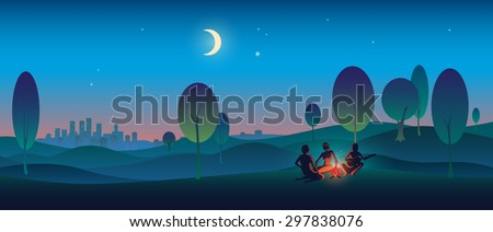 Creative illustration tourists near the night bonfire with a guitar