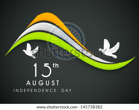 Creative Indian Independence Day concept with tricolors wave, ashoka wheel and flying pigeons. - stock vector