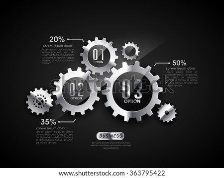 Creative infographic elements with glossy statistical cog wheels for Business concept. - stock vector