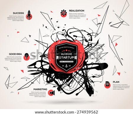 Creative infographics concept for startup. Abstract background with vector paint stain and geometric shapes for business presentation or promotional material. Scientific future technology background. - stock vector