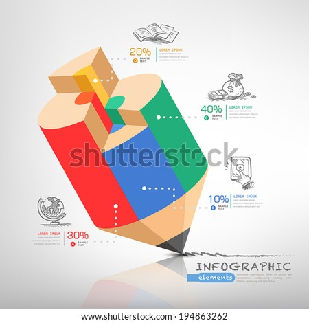 creative infographics template with pencil, puzzle and education icons. abstract infographic design minimal style. graphic or website layout vector. - stock vector