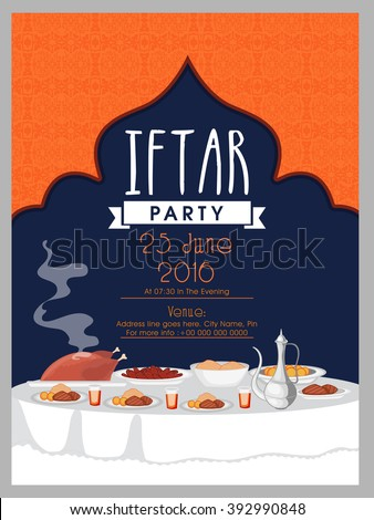 Creative Invitation Card Design With Illustration Of Delicious Dishes For Iftar Party Celebration