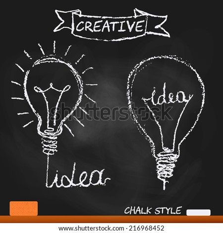 creative lamp chalk board - stock vector