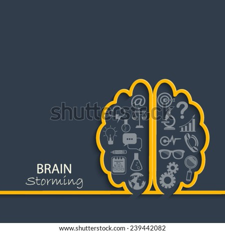 Creative left brain and right brain Idea concept background in paper style with flat set business icon. vector illustration. - stock vector