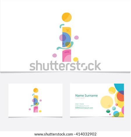 Creative Letter I design vector template on The  Business Card Template. Abstract Colorful Alphabet .Friendly funny ABC Typeface. Type Characters  - stock vector