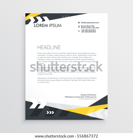 creative letterhead template yellow black geometric stock vector 556867372 shutterstock. Black Bedroom Furniture Sets. Home Design Ideas
