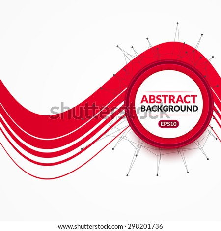 Creative light background with polygonal object and circle.
