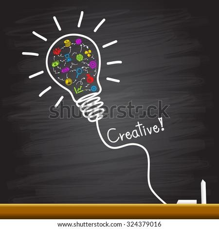 Creative light bulb handwriting - stock vector