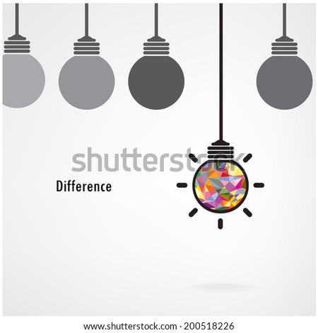 Creative light bulb Idea concept background ,design for poster flyer cover brochure ,business idea ,education  background,difference concept.vector illustration  - stock vector